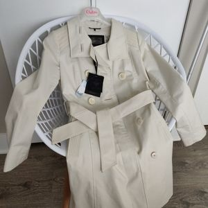 NWT Mackage beige cream trench coat leather trimmings sz XS